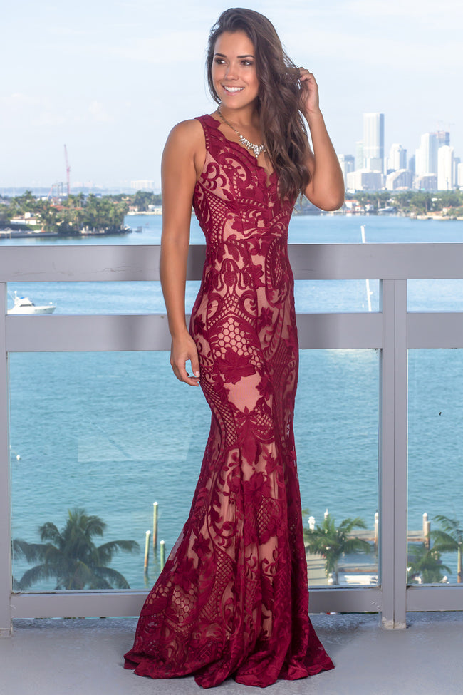 Wine and Nude Embroidered Maxi Dress