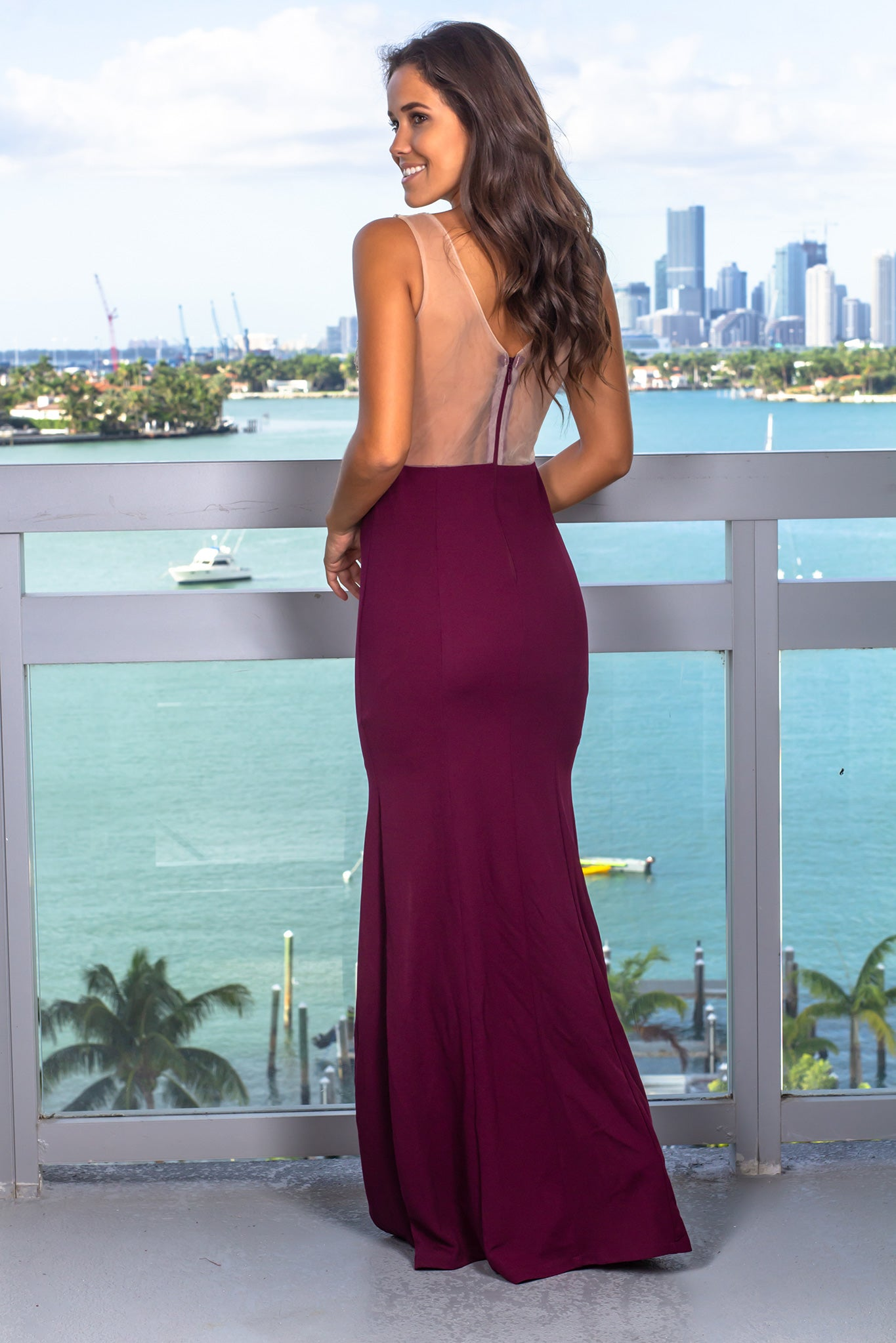 Wine and Nude Maxi Dress with Jewel Detail