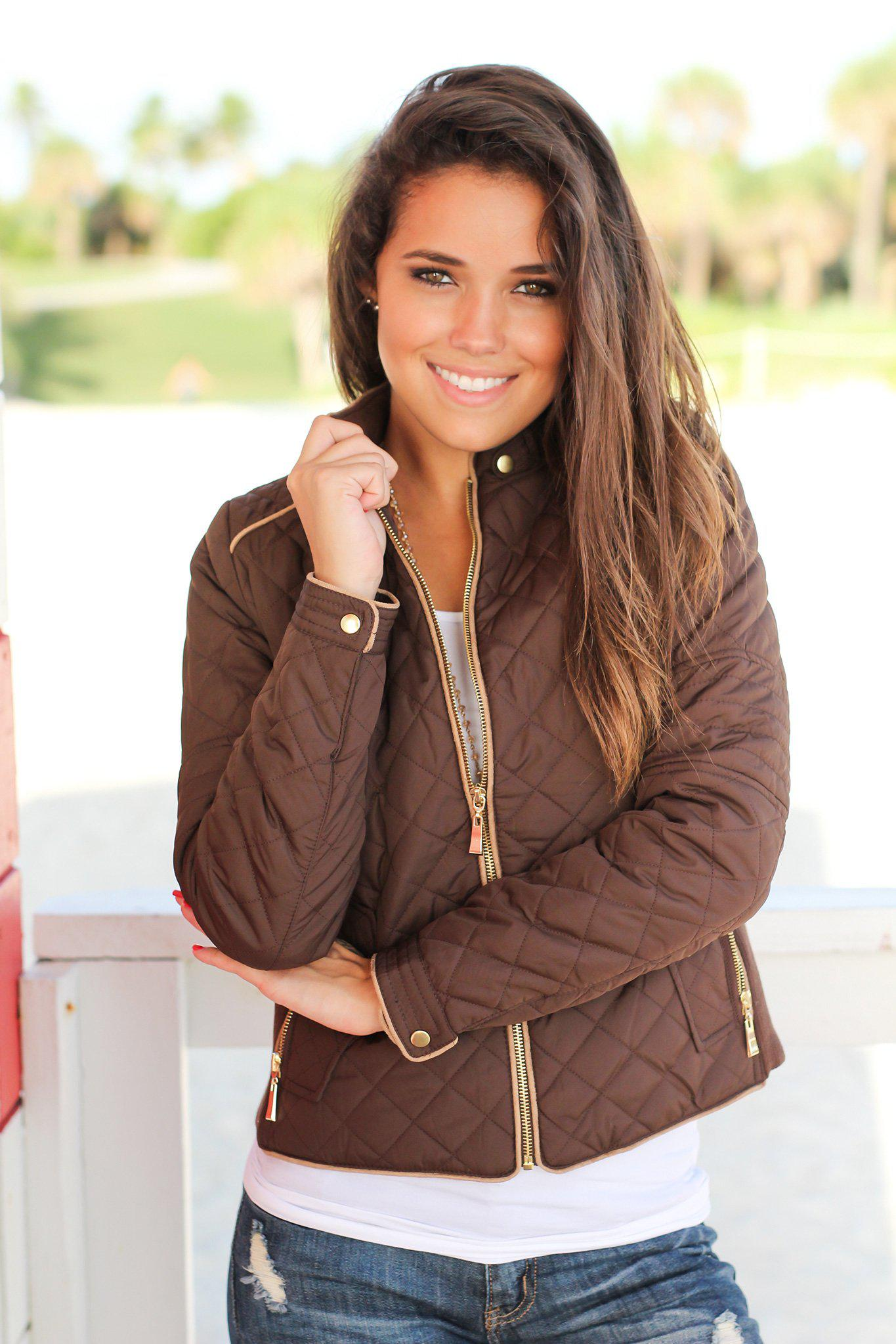 Brown Quilted Jacket