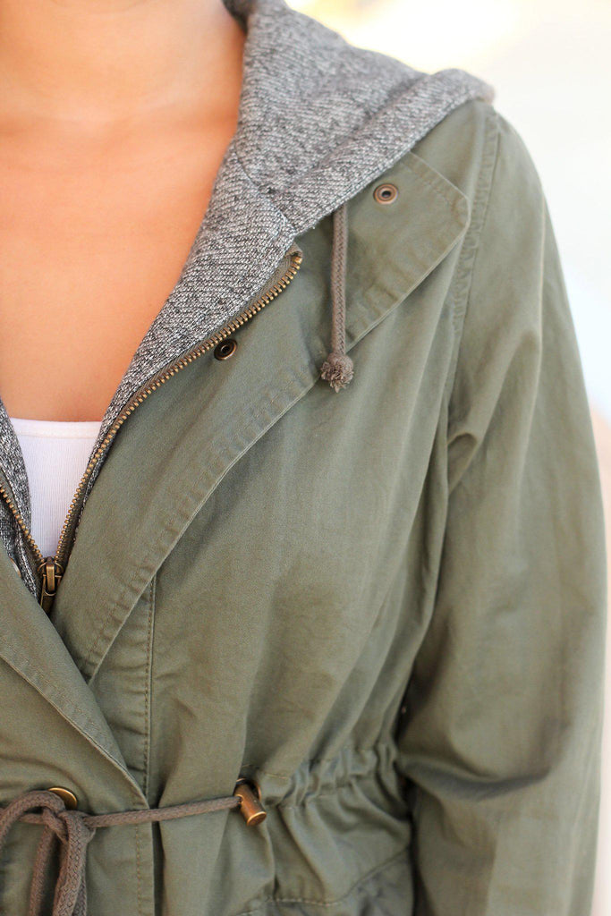 Olive Utility Jacket with Gray Hood | Jackets u2013 Saved by the Dress
