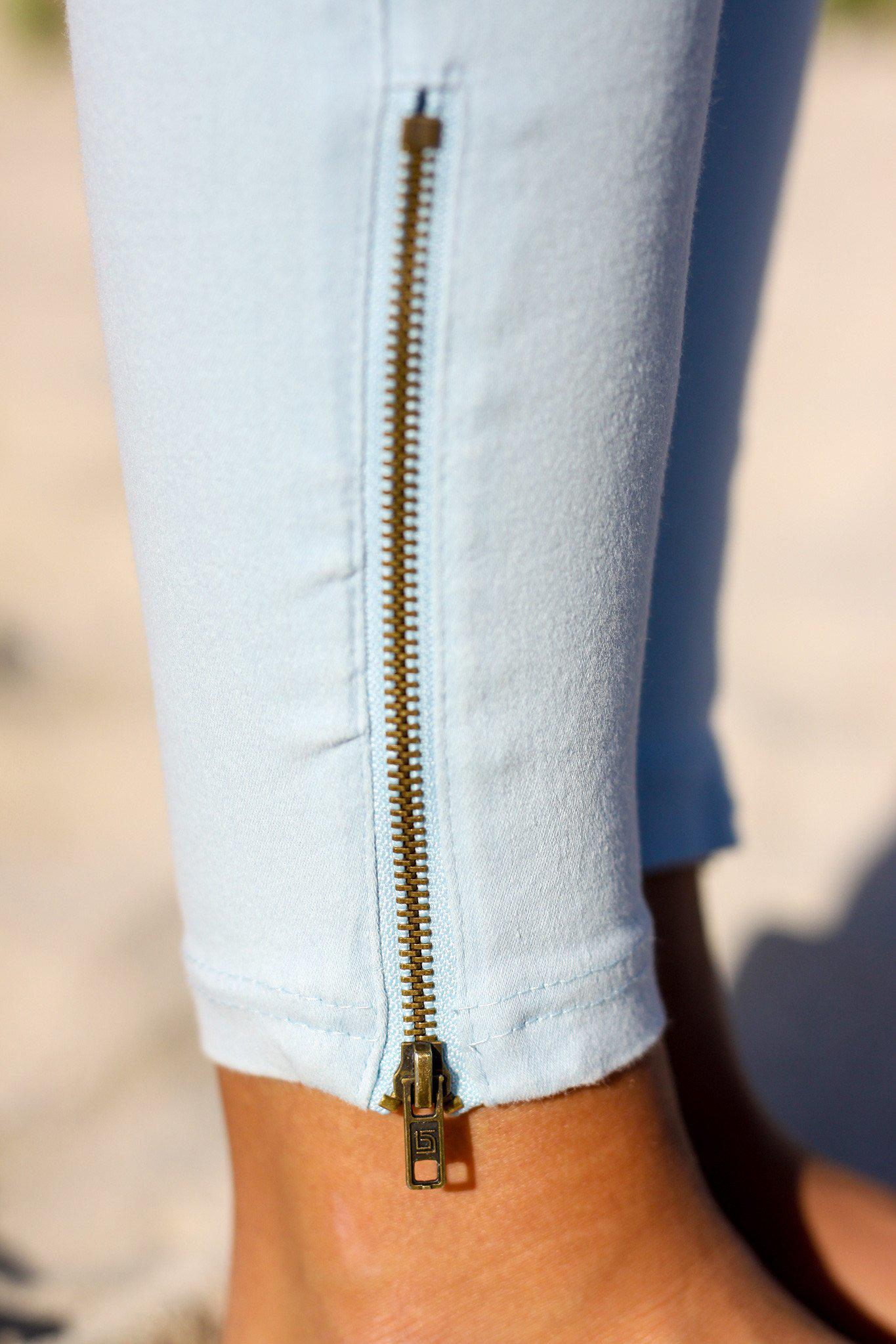 Light Blue Moto Jeggings With Ankle Zippers Online