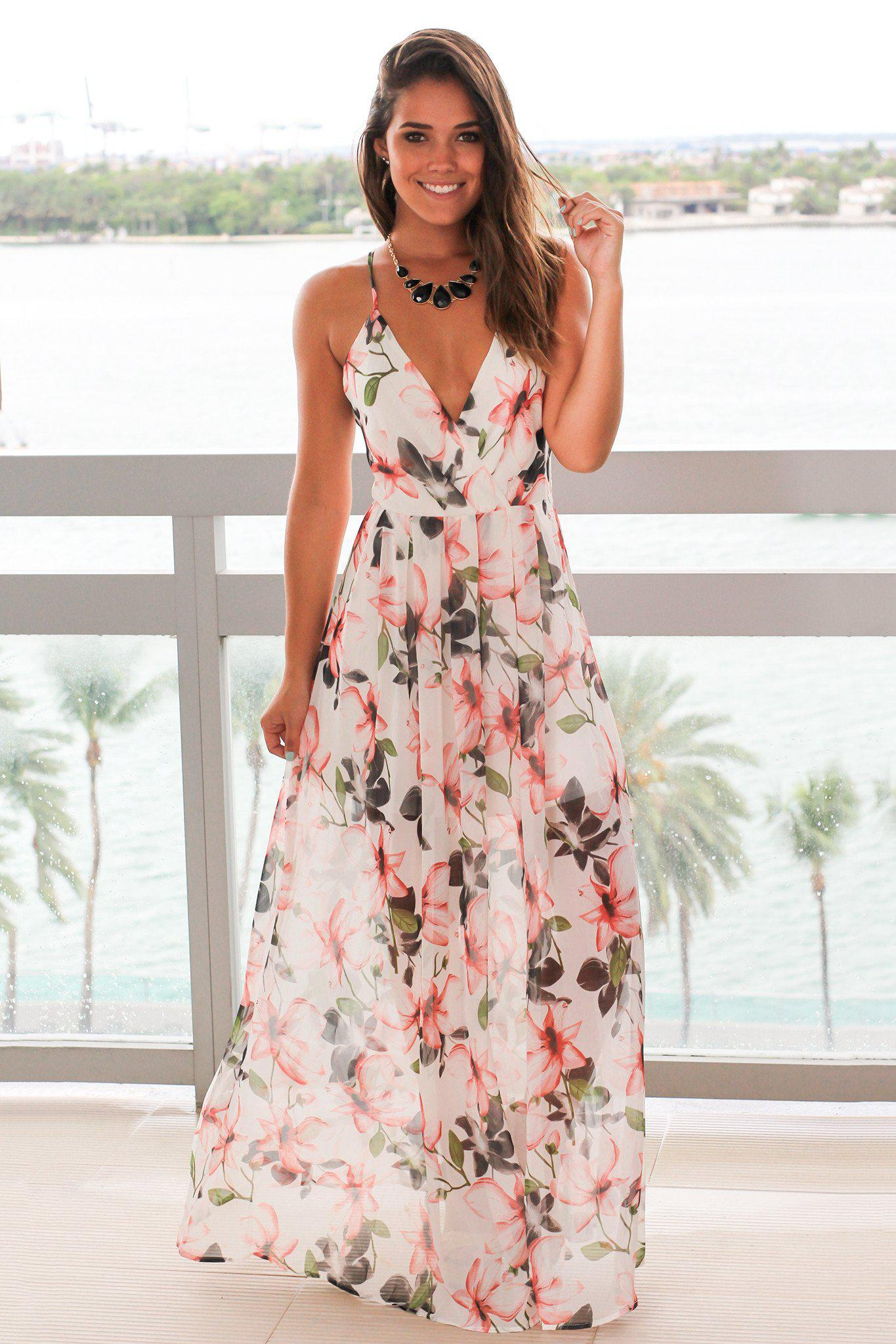0b4b1ad8096 White Floral Maxi Dress with Criss Cross Back