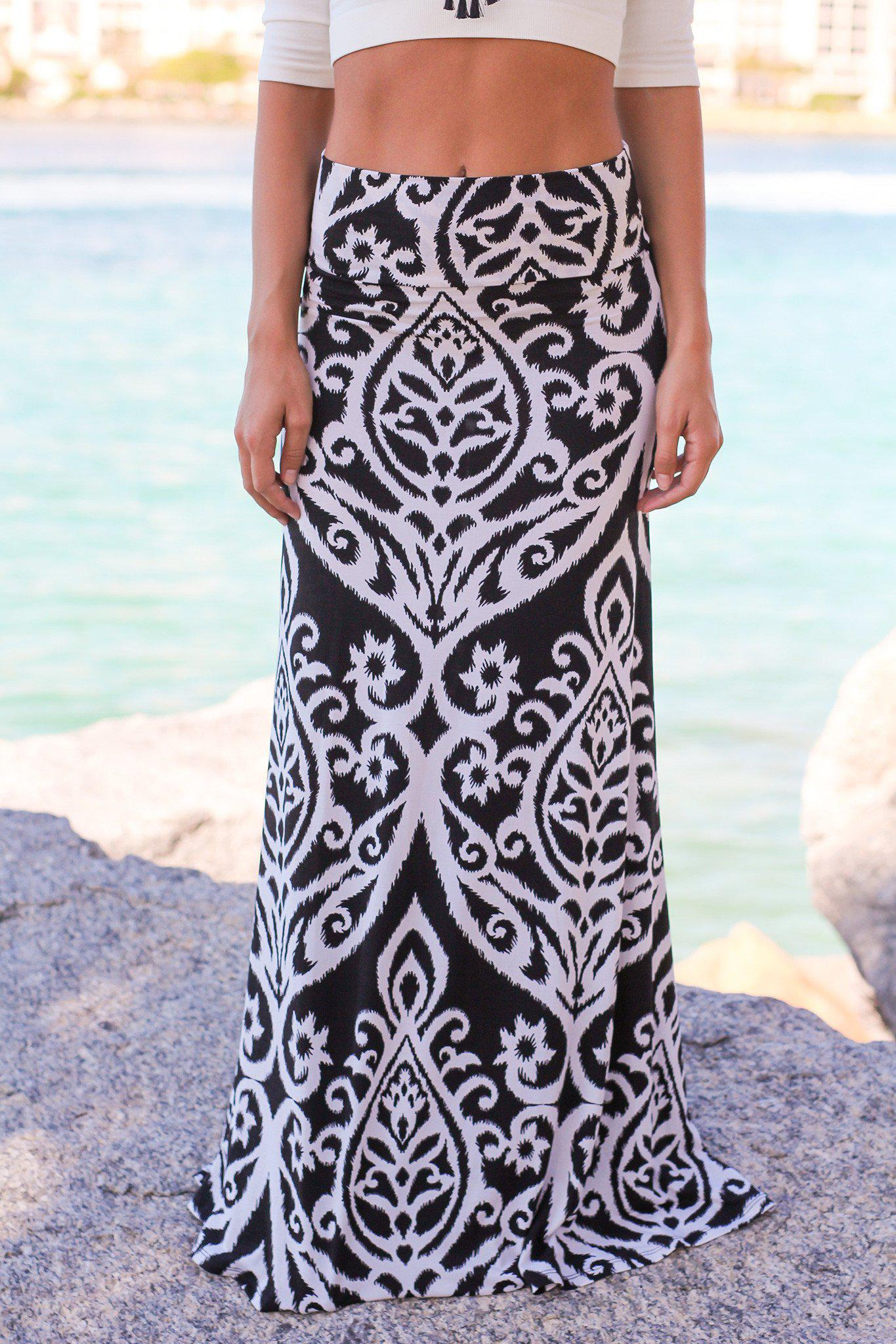 Black and White Printed Maxi Skirt | Online Boutiques – Saved by ...
