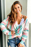 Multi colored striped twist back sweater