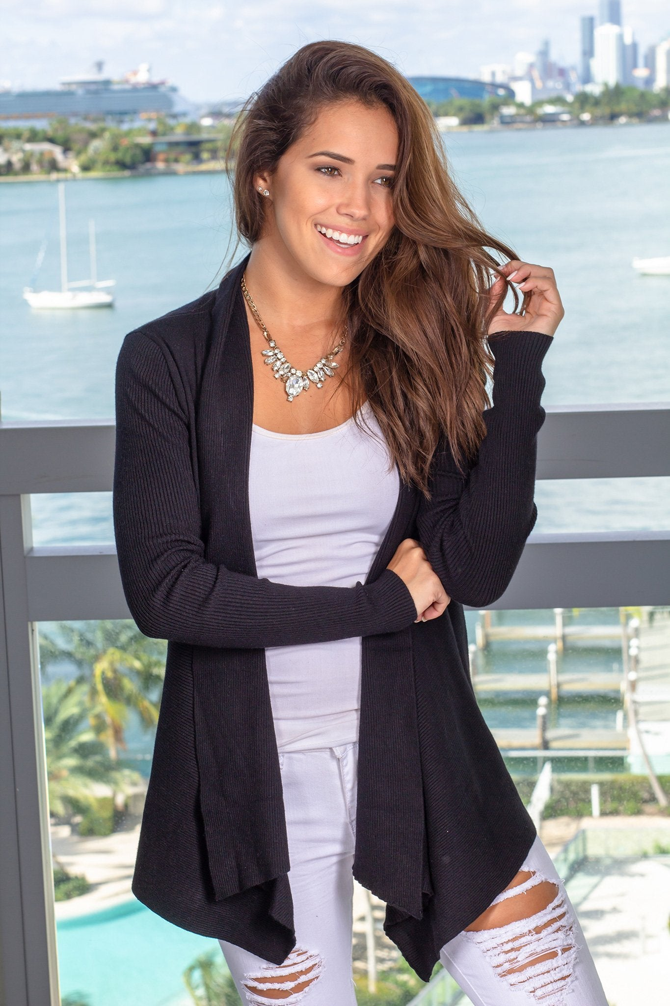 Black Ribbed Open Cardigan