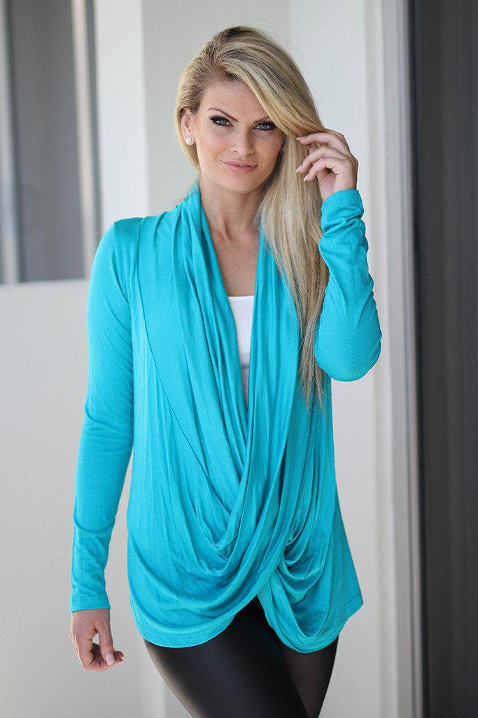 Turquoise Wrap Top