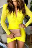 yellow mesh short dress with long sleeves