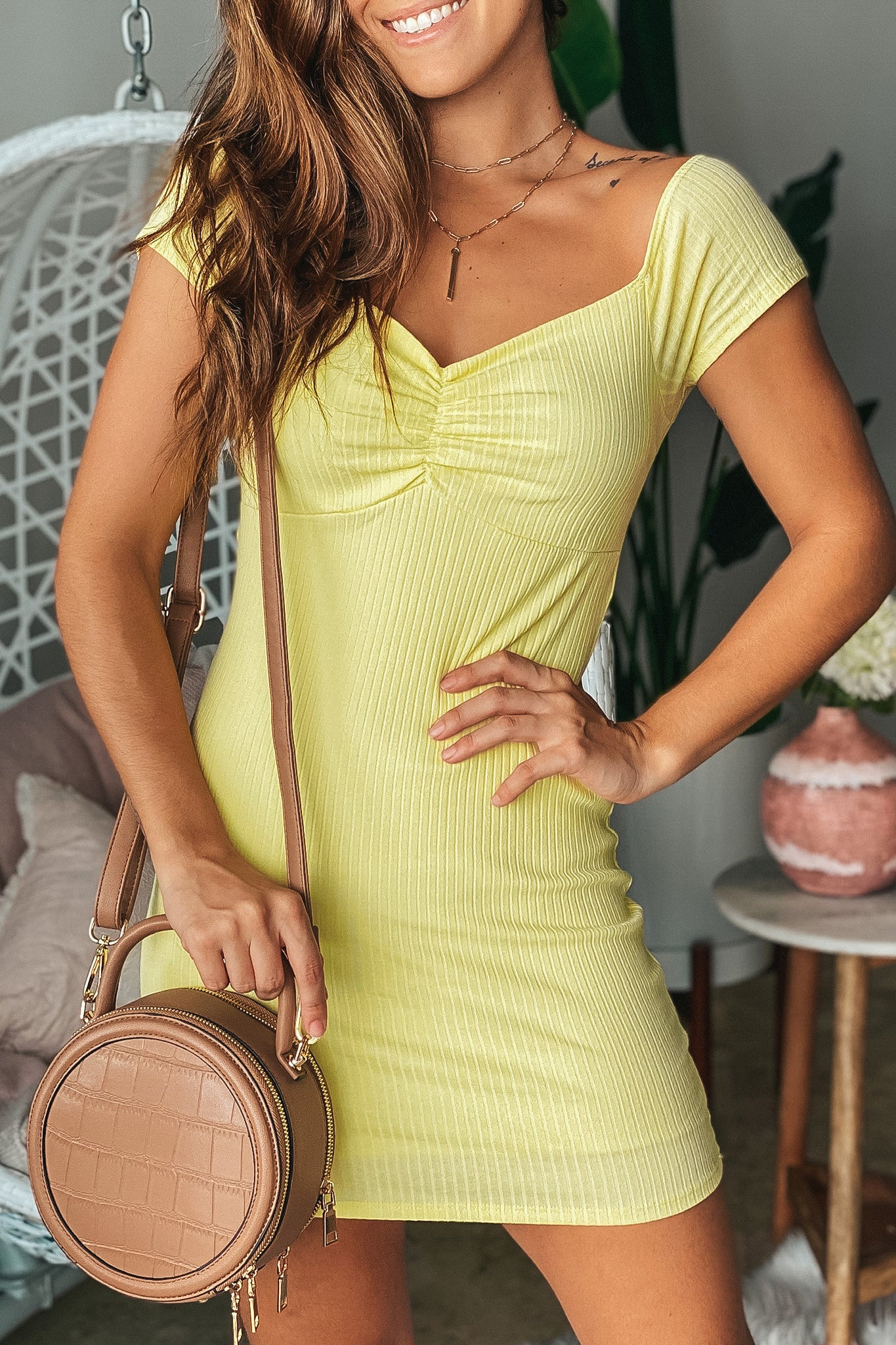 Yellow Ribbed Off Shoulder Short Dress