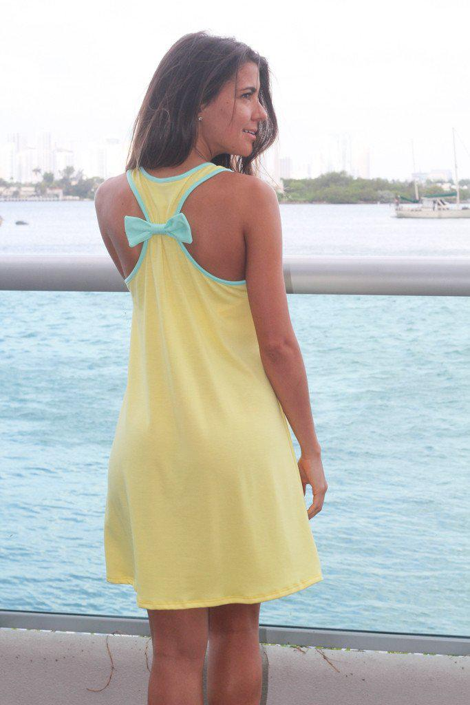Yellow Anchor Dress With Back Bow