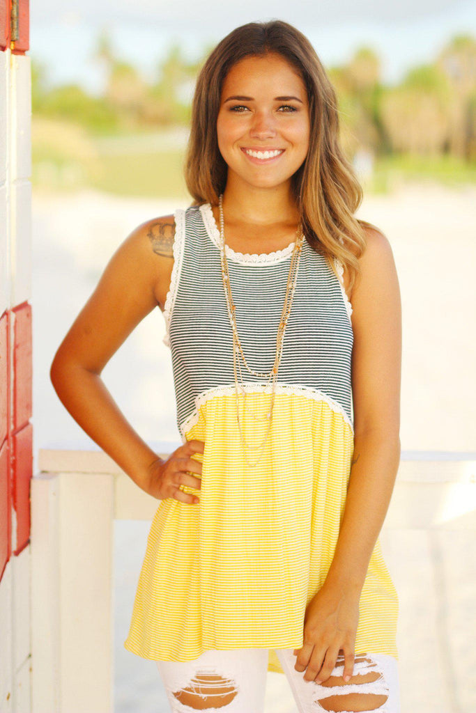 yellow babydoll tunic top