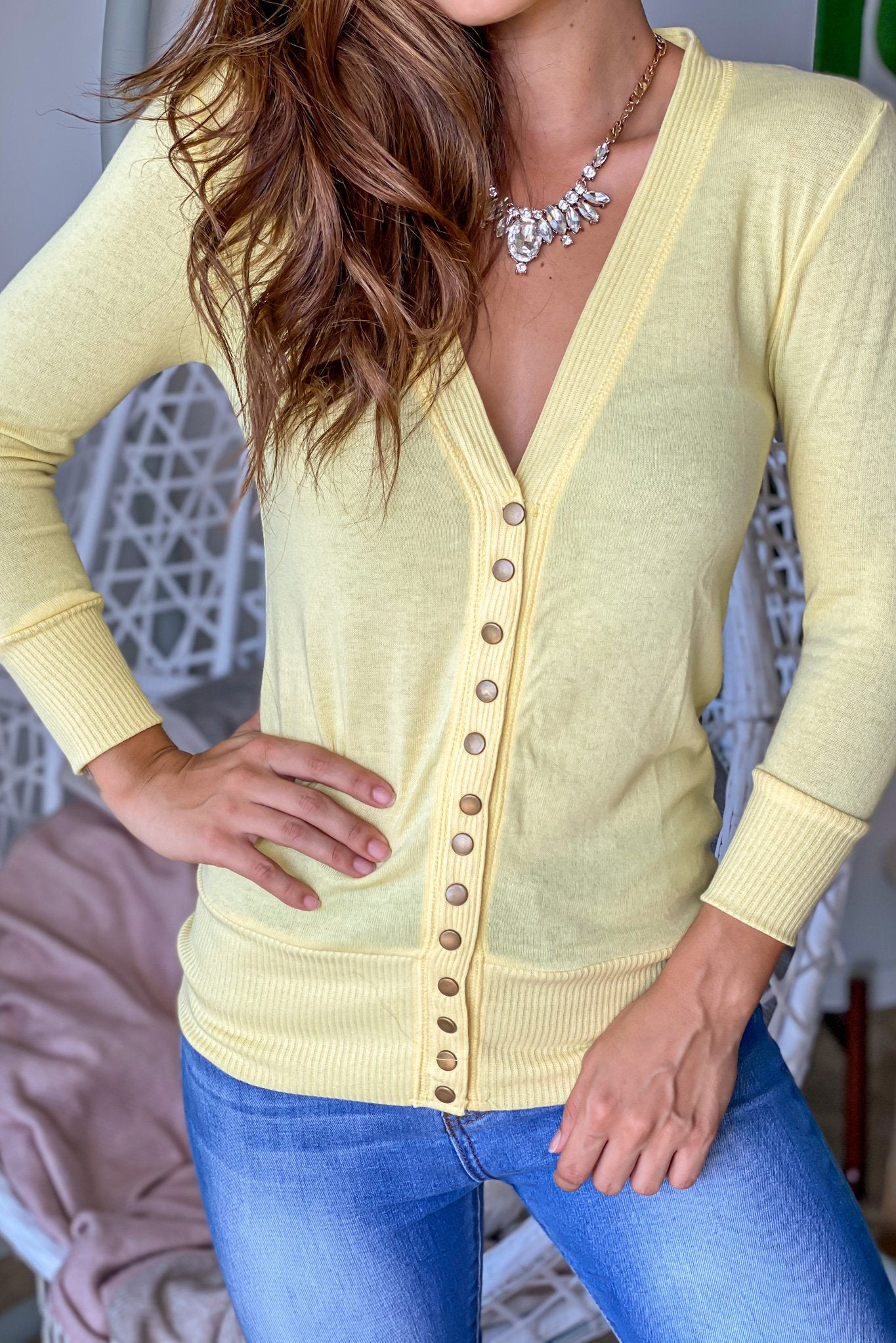 Yellow Cardigan with 3/4 Sleeves