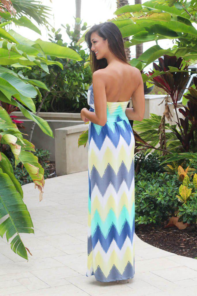 Mint And Yellow Chevron Maxi Dress