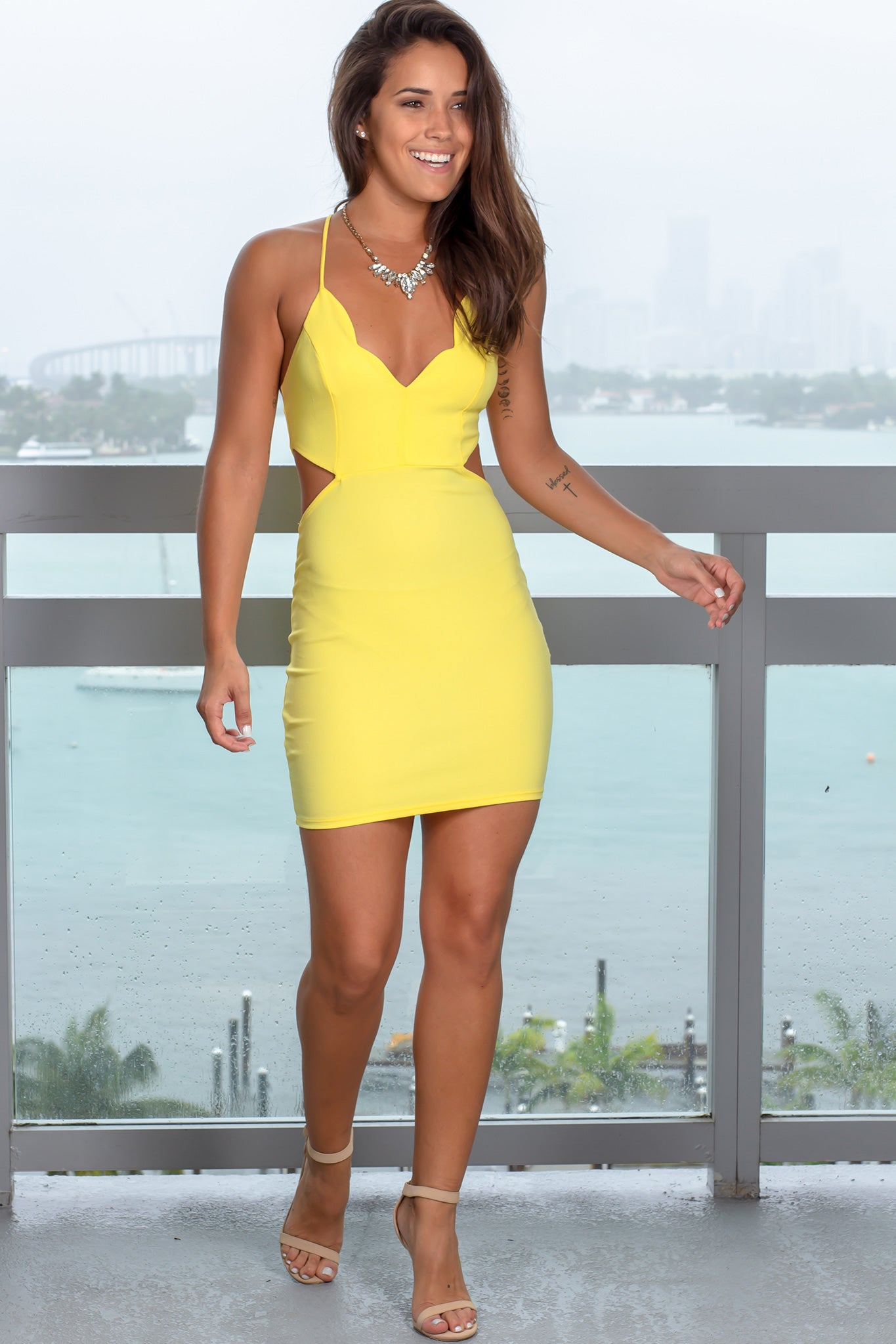 Yellow Cut Out Short Dress with Scalloped Neck
