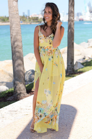 Yellow Floral Maxi Dress with Open Back