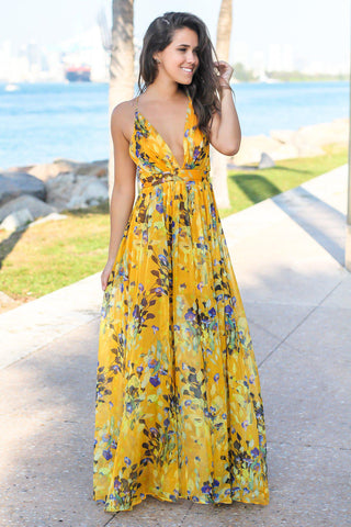 Yellow Floral Maxi Dress with Criss Cross Back