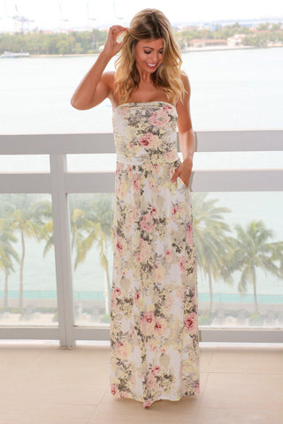 Strapless Yellow Floral Maxi Dress with Pockets