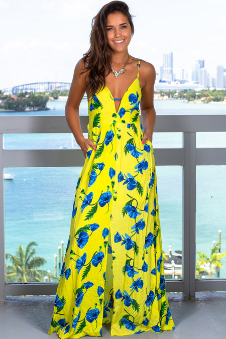 Yellow Floral Halter Neck Maxi Dress