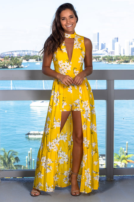 Yellow Floral High Low Romper