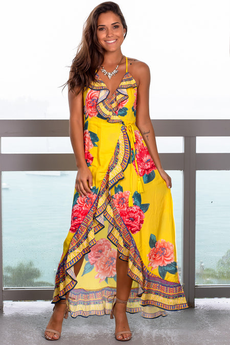 Yellow Floral High Low Wrap Dress