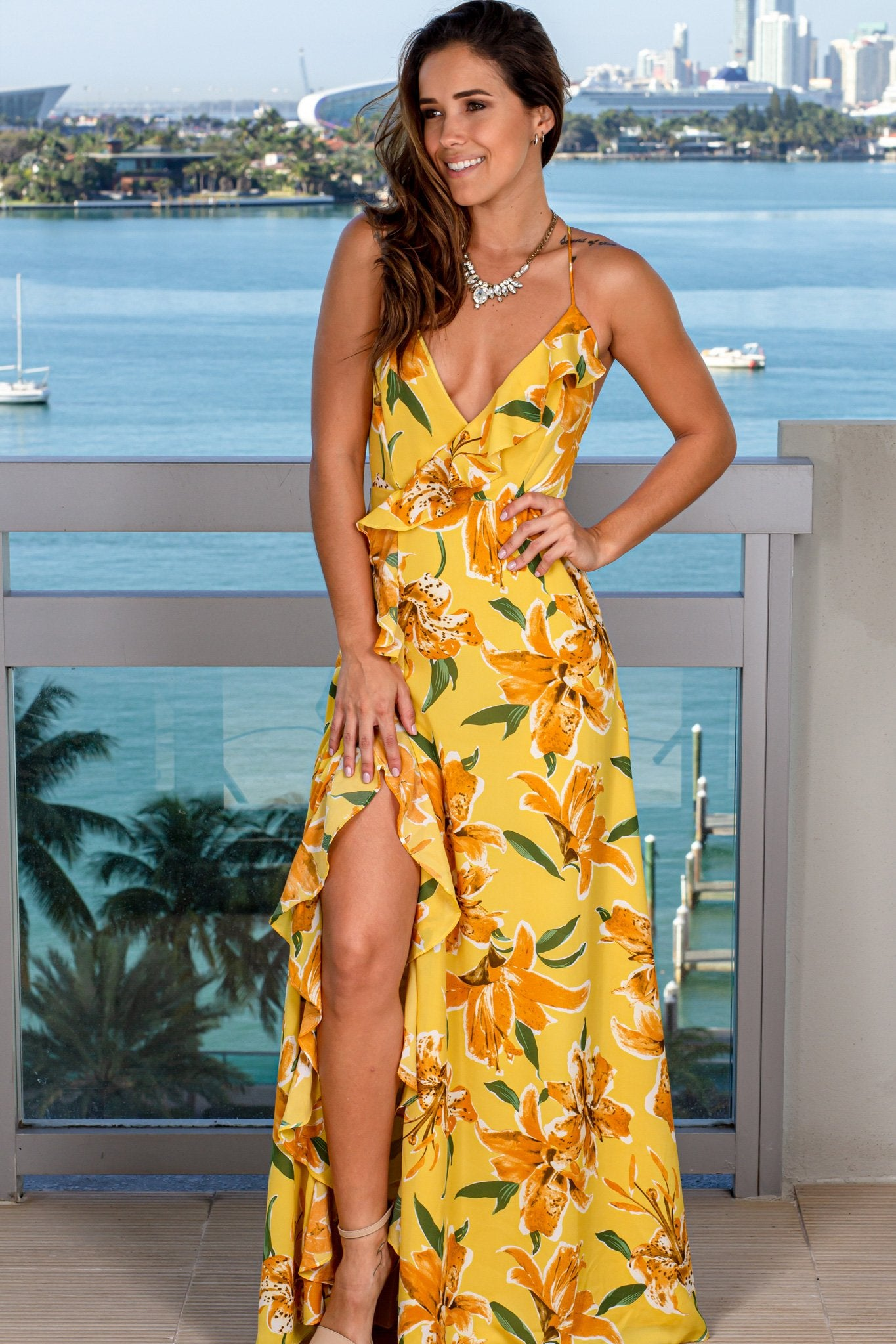 Yellow Floral Maxi Dress with Ruffle Detail