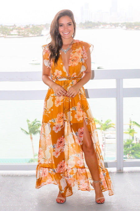 Yellow Floral Maxi Dress with Ruffled Sleeves