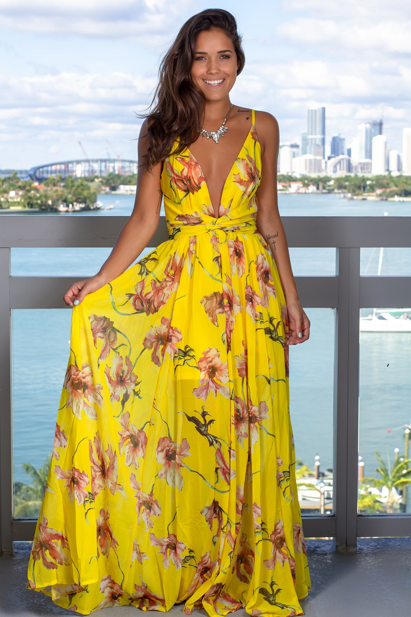 Yellow Floral Maxi Dress with Twist Front
