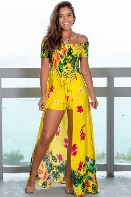 Yellow Floral Printed Maxi Romper