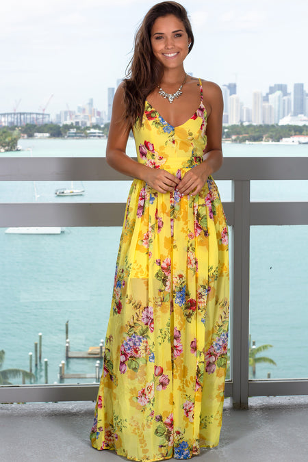 Yellow Floral Printed V-Neck Maxi Dress