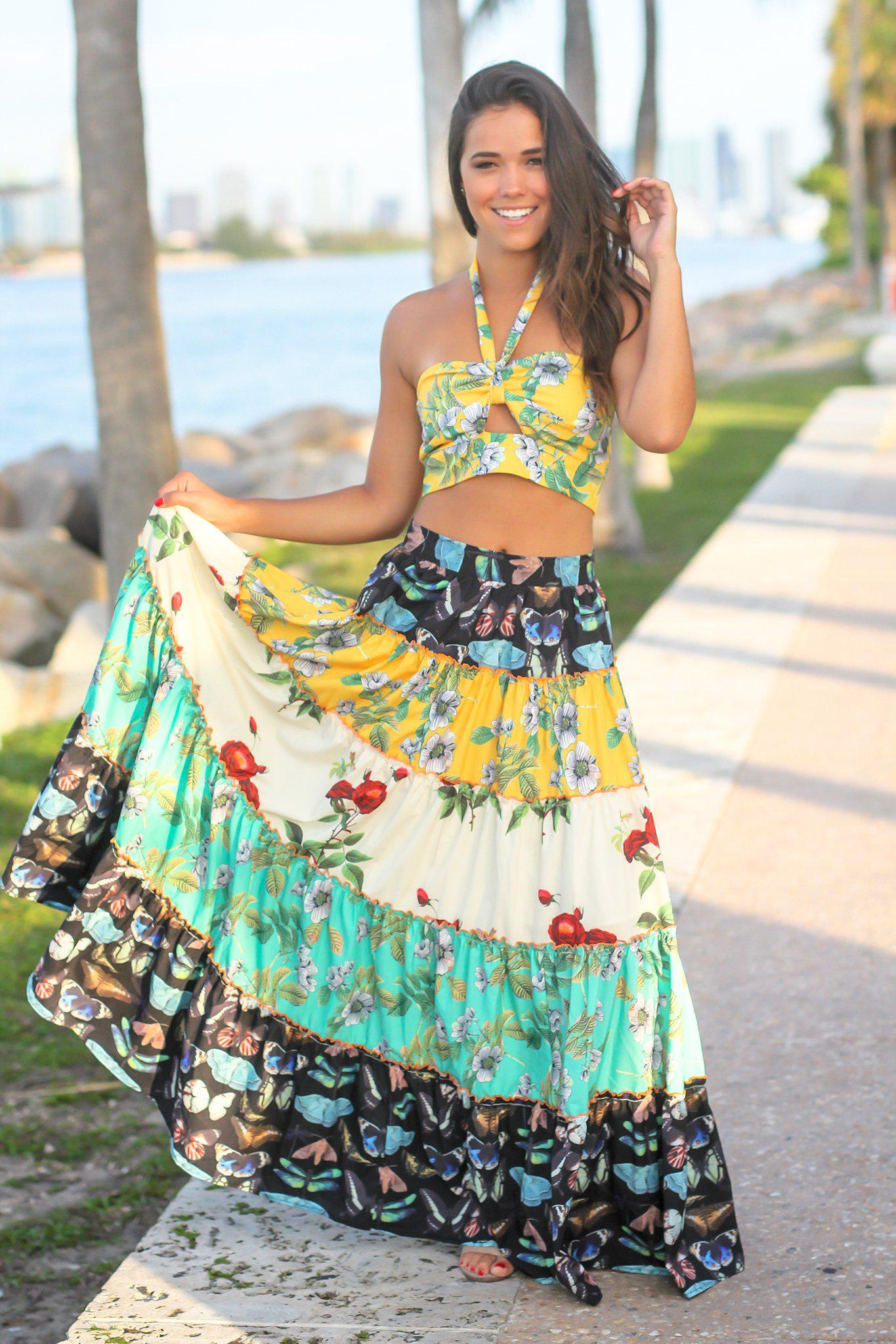 Yellow Floral Two Piece Set