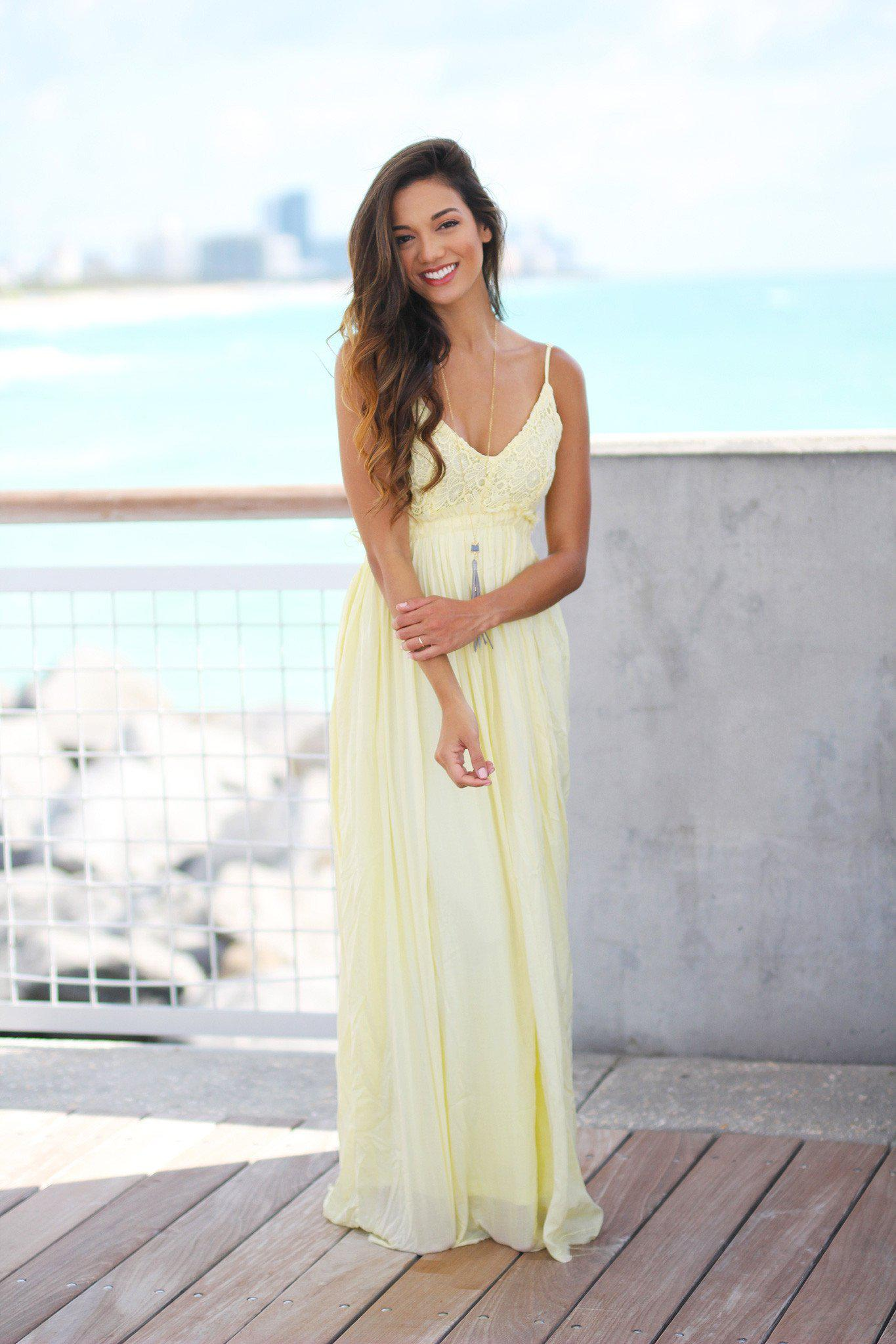 09c7f00c4d8 Yellow Lace Maxi Dress with Open Back and Frayed Hem