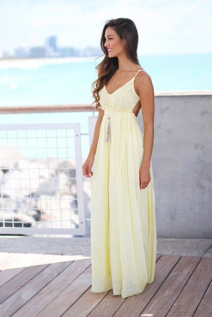 yellow lace maxi dress with open back