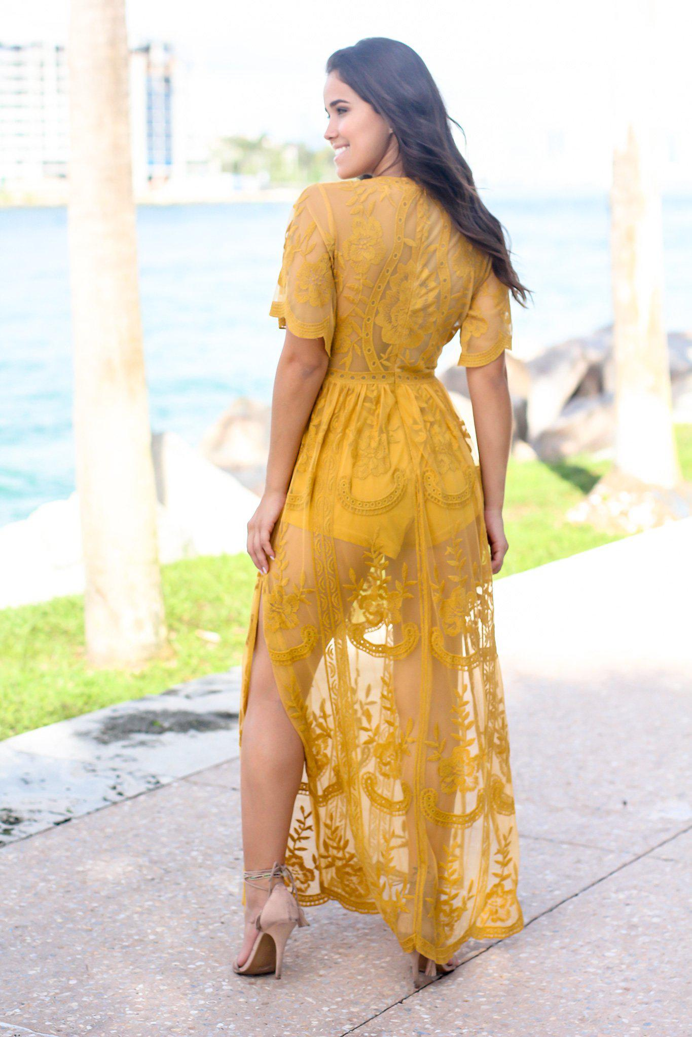 Yellow Lace Maxi Romper