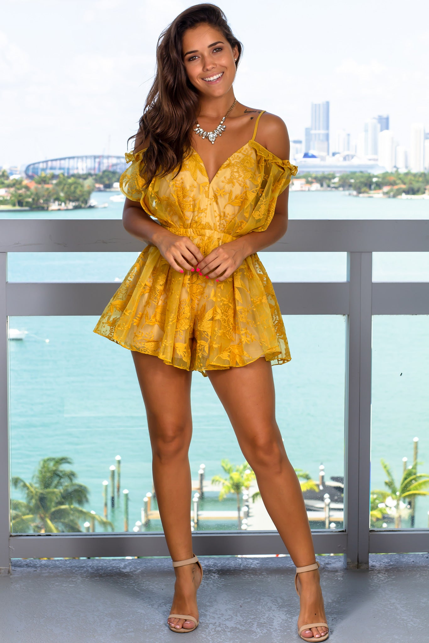 Yellow Mesh Romper