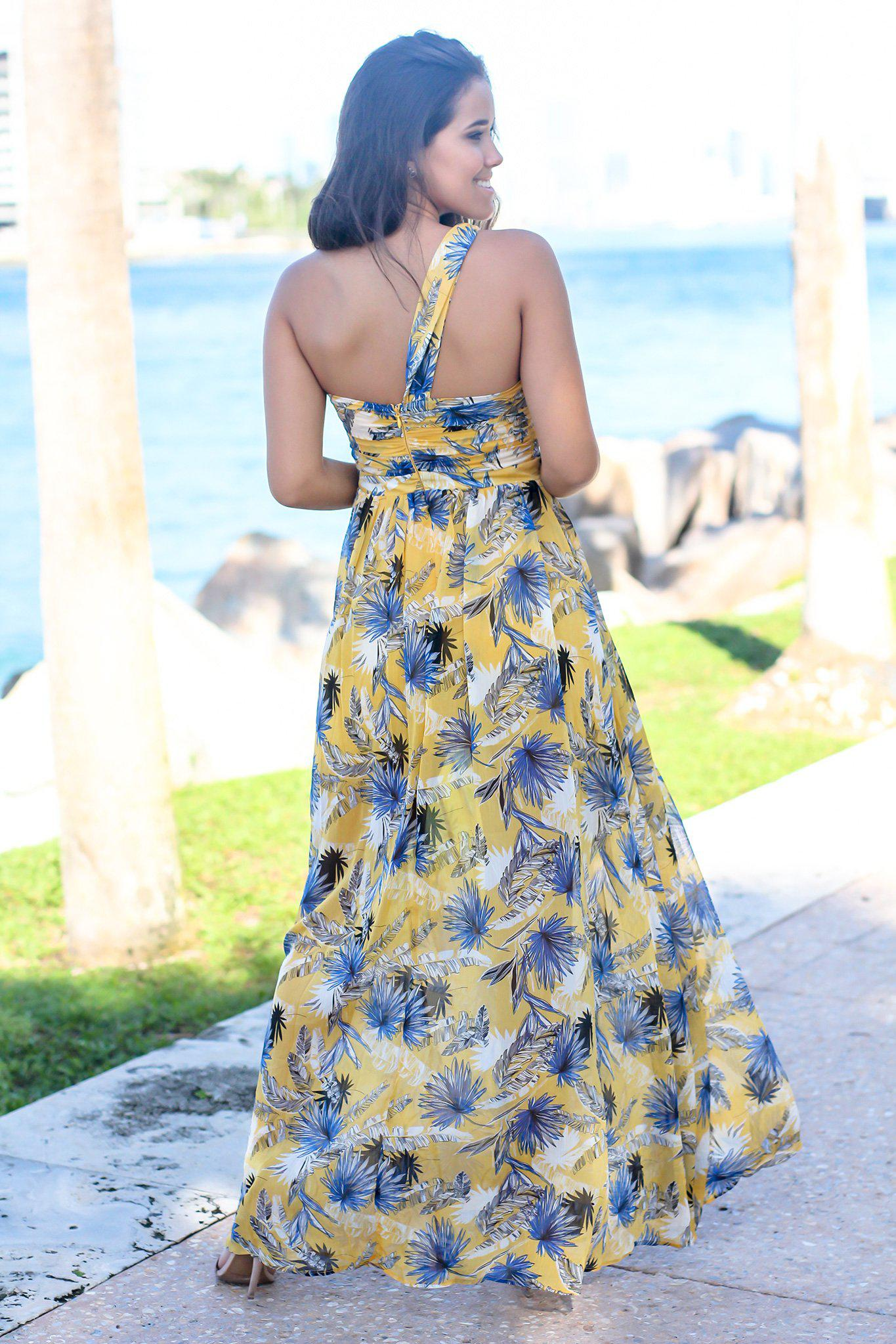 Yellow One Shoulder Printed Maxi Dress