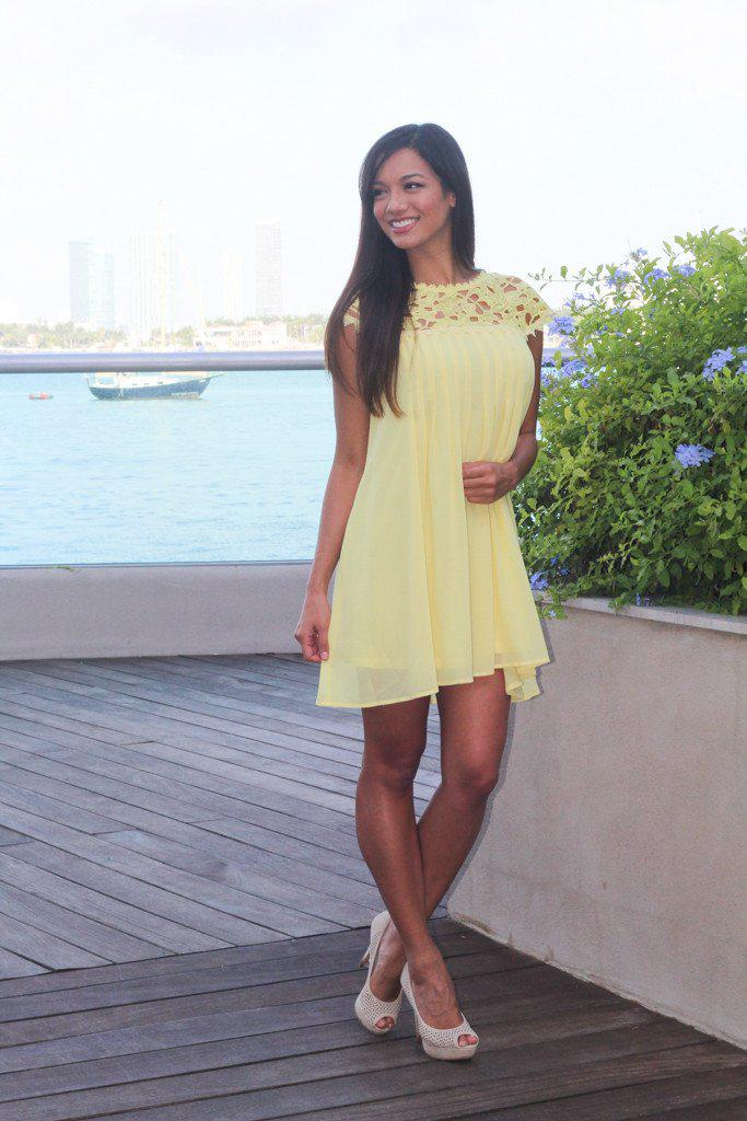 Yellow Pleated Dress with Crochet Neck