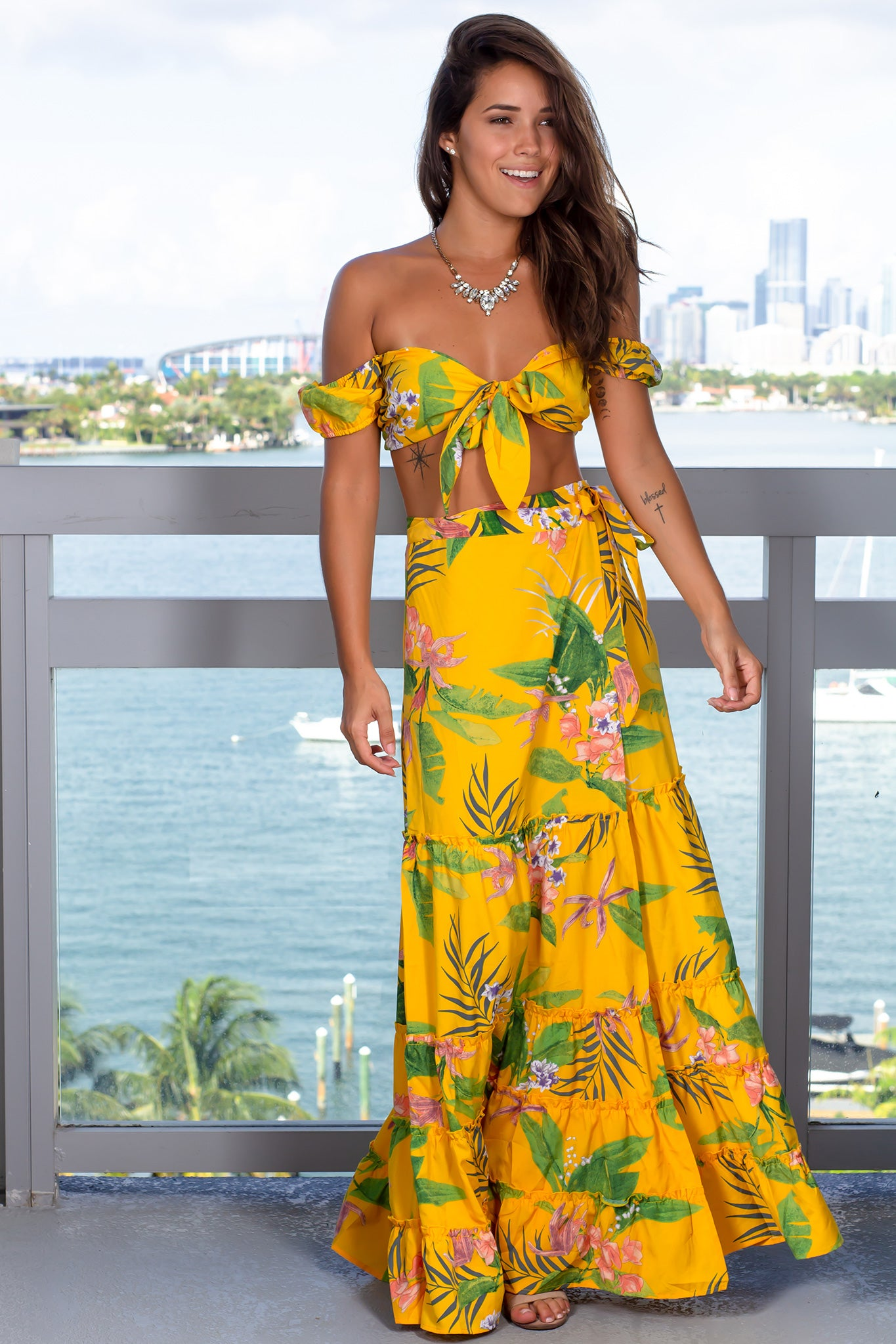 97a1586c8a700 Yellow Printed Two Piece Skirt Set