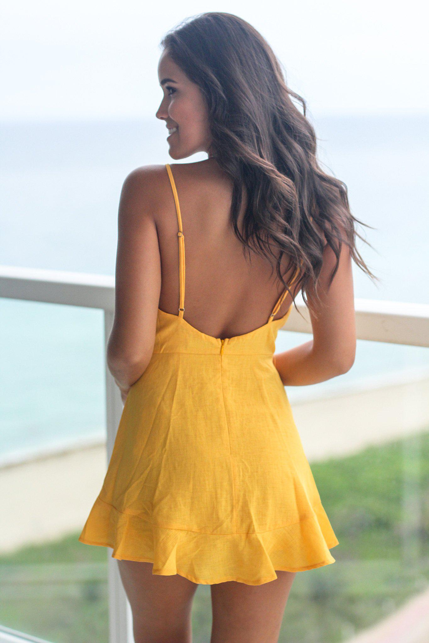 Yellow Romper with Ruffled Bottom