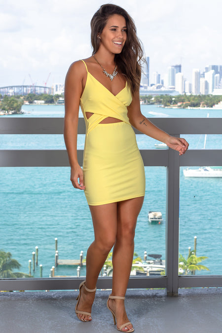 Yellow Short Dress with Cut Outs