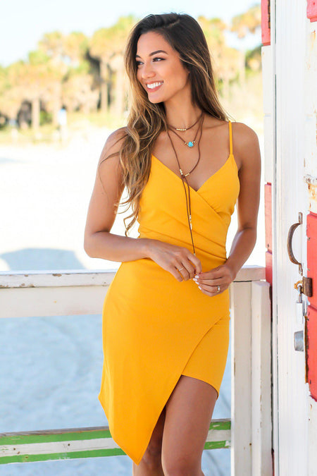 Yellow Short Dress with Ruched Side