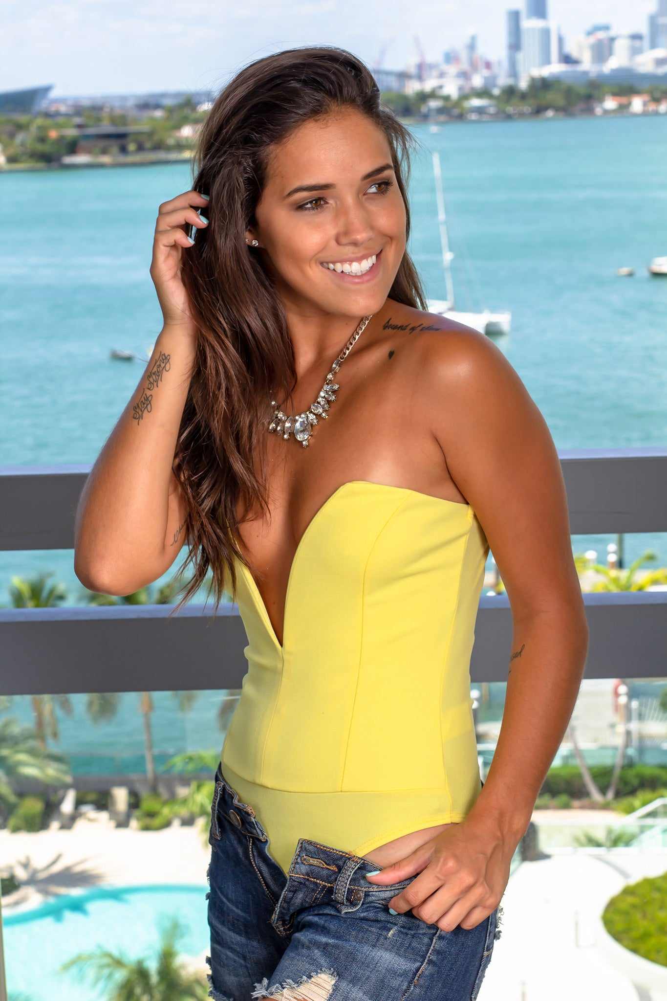 Yellow Strapless Bodysuit