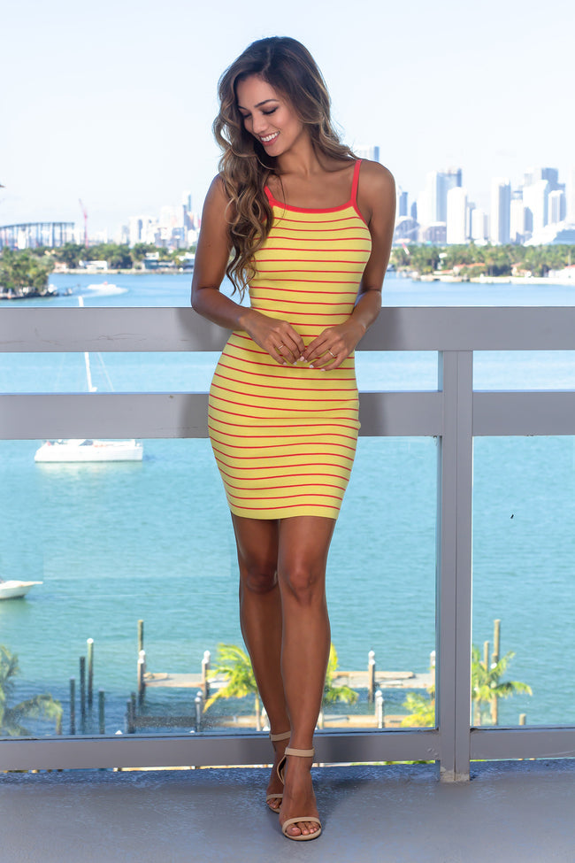 Yellow Striped Short Dress