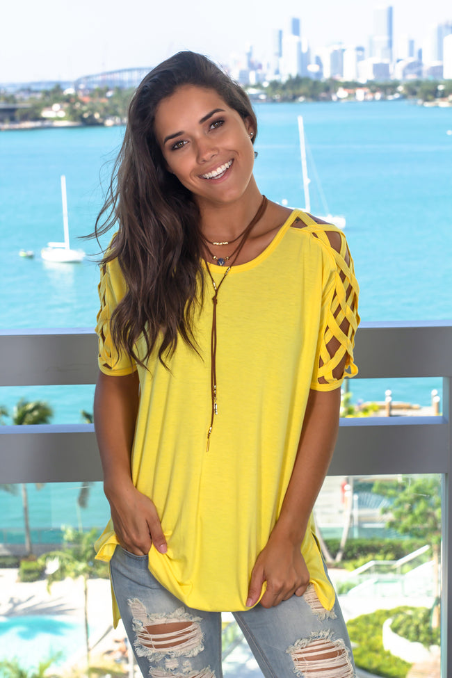 Yellow Top with Strappy Sleeves