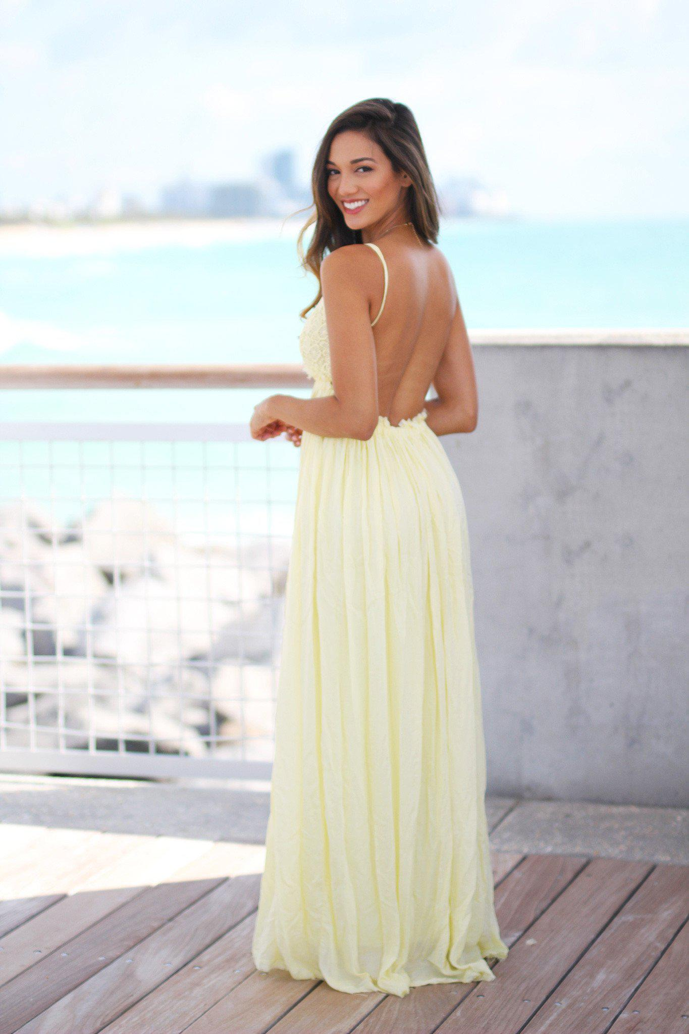 d1a463b3b27 ... Yellow Lace Maxi Dress with Open Back and Frayed Hem  Maxi Dresses ...