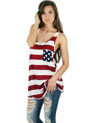 American Flag Tank Top With Back Bow