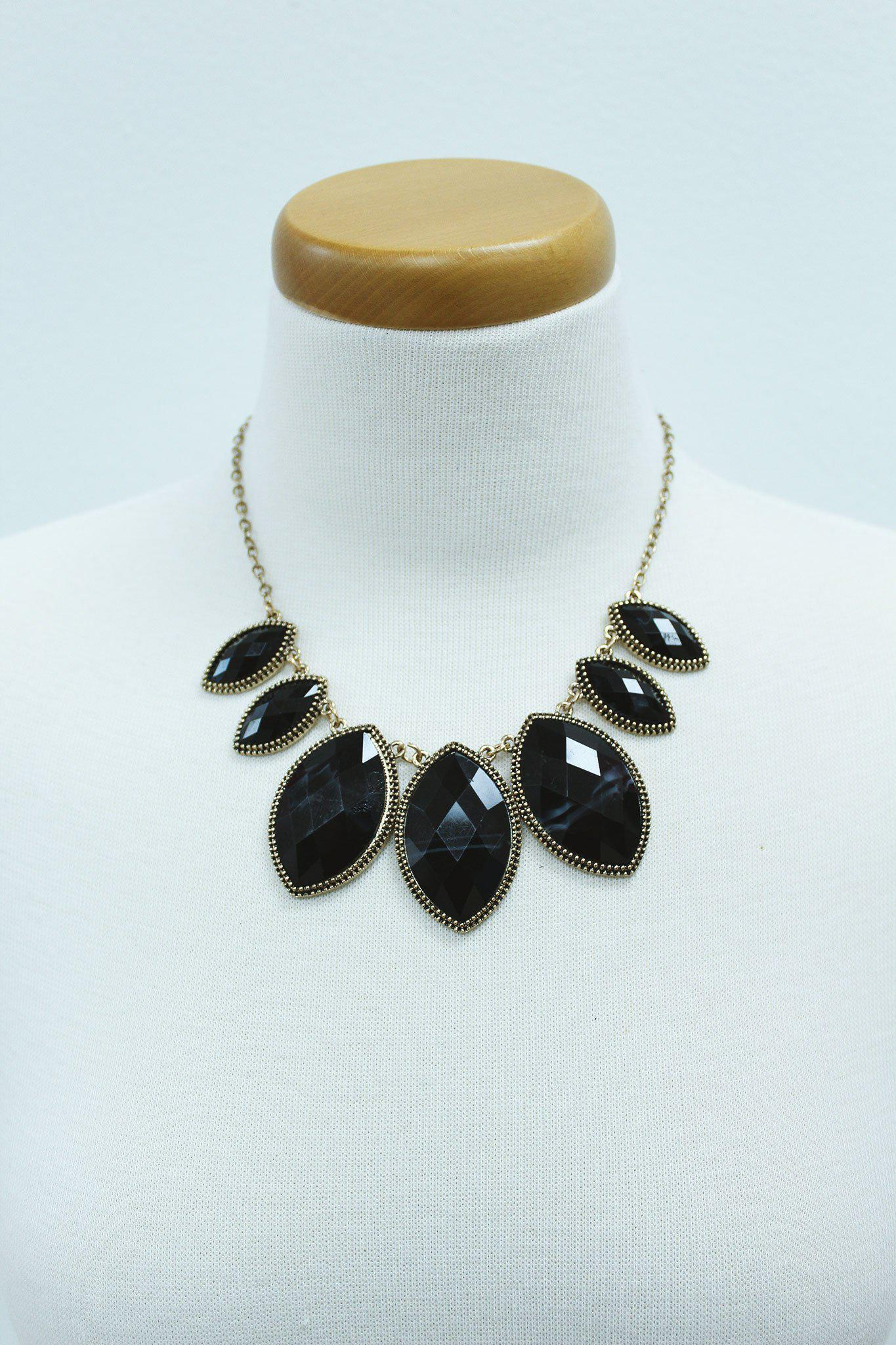 antique gold and black marquise beads necklace
