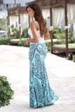damask print long skirt