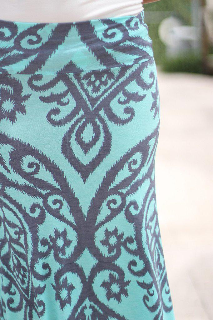 aqua and gray damask print maxi skirt