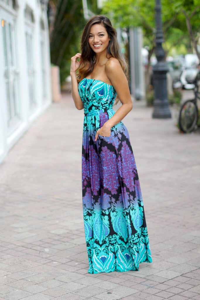 aqua and purple printed maxi dress