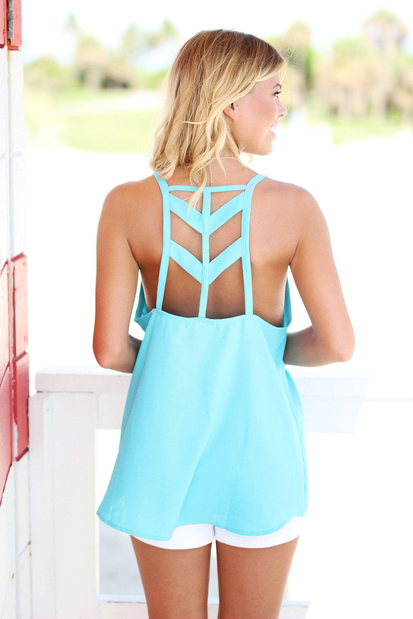 Aqua Cut Out Back Top