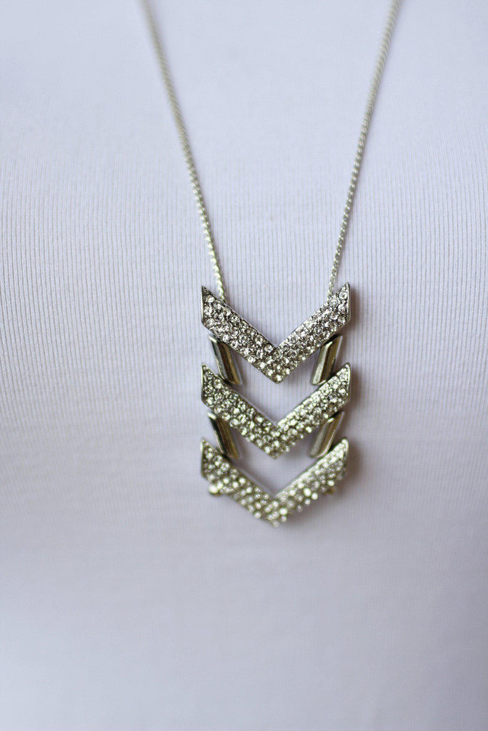 Silver Crystal Arrow Necklace